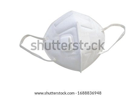 n95 mask. KN95 or N95 mask for protection pm 2.5/pm2.5 and corona virus (COVID-19) on white background with clipping path.