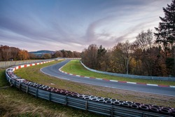 Nürburgring race track and the Nuerburg in the background Adenau Germany
