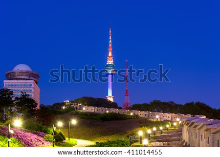 N Seoul Tower Located on Namsan Mountain in central Seoul,South Korea.