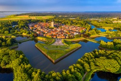 Naarden Old town, a historical fortified walled city in North Holland, Netherlands, aerial view