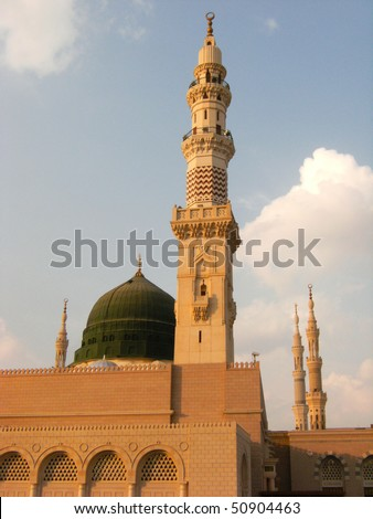 Nabawi mosque is Islam's second holiest mosque after Haram Mosque (in Mecca, Saudi Arabia). Beneath the green dome is where Prophet Muhammad (Peace be upon him) laid to rest.