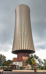 Nabemba Tower in Brazzaville downtown city center, Congo republic. WEst african architecture building.