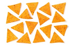 Nachos Mexican corn chips background. Delicious nachos snack, flat lay, isolated on white. Tortilla nacho crisps layout. Creative concept, top view.