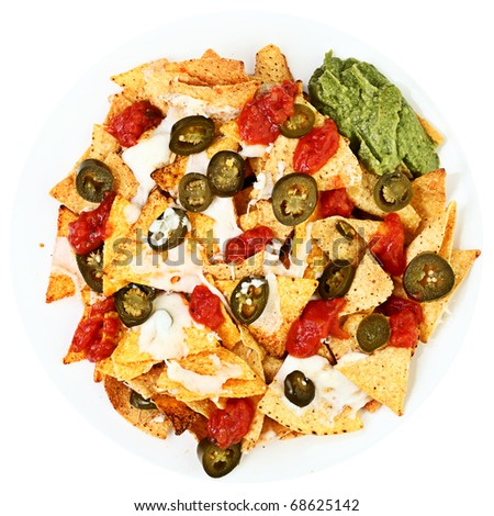 Nachos plate with jalapenos, chilli, mozzarella cheese, guacamole and spicy tomato salsa. Isolated on white background.