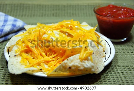 Nachos with Cheese and Salsa