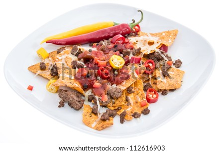 Nachos with Meat and Cheese isolated on white background