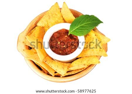 stock photo : nachos with salsa isolated on white