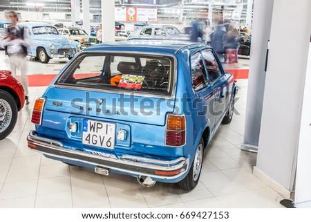 Nadarzyn, Poland, May 13, 2017 Warsaw Oldtimer Show: Honda Civic 1977, glossy and shiny old classic retro auto  #669427153