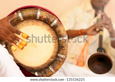 nadaswaram and thavil musical instrument  in Hindu Wedding, Tamil Nadu, India