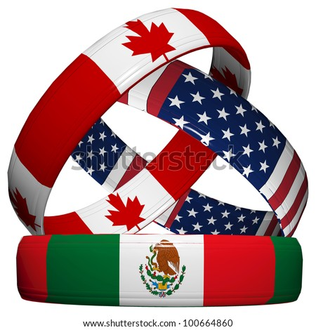 Nafta Usa Canada Mexico Flag Buttons Labeled With Nafta North