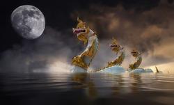Naga at khong river on the night of the full moon