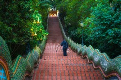 Naga stairway, front view of the 306 steps leading up to the temple complex, Wat Phra That Doi Suthep Chiang Mai Thailand