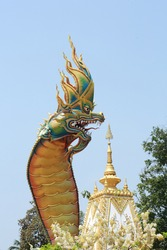 Naga statue in Thailand,In Legend Naga is Protect Buddhism.