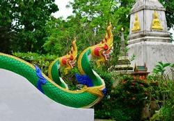 Naga statues in Buddhist Laos. Artistry of southeast asia. Dragon.