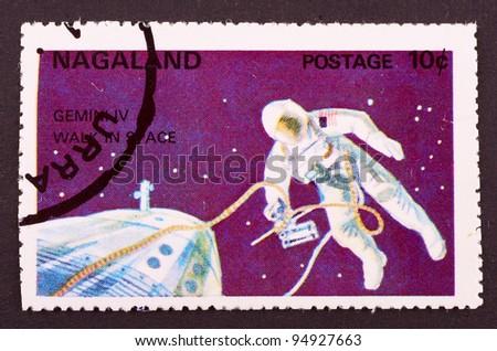 Nagaland - CIRCA 1969: mail stamp image of spaceman, circa 1969