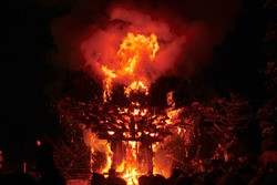 Nagano, Japan (Mar/2015) Huge burning structure at the annual Nozawa Onsen Fire Festival, celebrating the birth of a family's first child, dispelling evil spirits and also praying for happy marriage.
