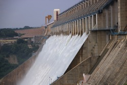 Nagarjuna Sagar Dam is a masonry dam across the Krishna river at Nagarjuna Sagar which straddles the border between Guntur district
