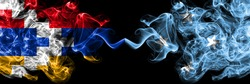 Nagorno-Karabakh, Artsakh vs Micronesia, Micronesian smoky mystic flags placed side by side. Thick colored silky abstract smoke flags