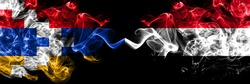 Nagorno-Karabakh, Artsakh vs Yemen, Yemeni smoky mystic flags placed side by side. Thick colored silky abstract smoke flags