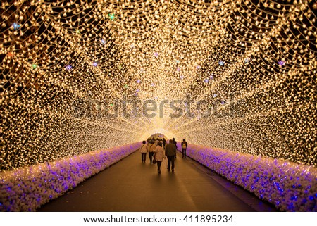 Nagoya, Japan. Nabana no Sato garden at night in winter