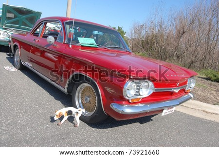 NAGS HEAD, NC - MAR 19:  Statue of dog seems to be urinating on vintage 1964 Chevy Corvair at Outer Banks Charity Car Show presented by First Flight Cruisers on March 19, 2011 in Nags Head, NC.