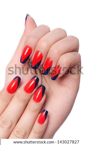 Nail art concept with hands on white