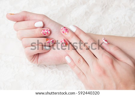 Nail art with lace #592440320