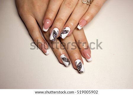 Nail design white French manicure with black bow and rhinestones #519005902