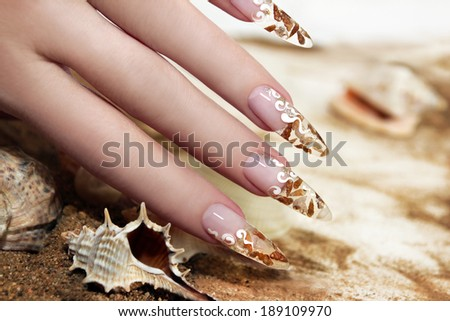 Nail design with brown and white these little shells inside gel nails on the background of shells and sand.