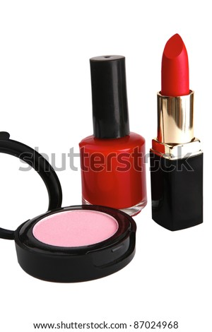 nail polish and lipstick isolated over white background