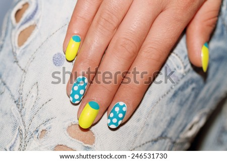 Nail Polish. Art Manicure. Colored Nail Polish. Beauty hands. Stylish Colorful Nails