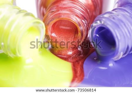 Nail polish close up - stock photo