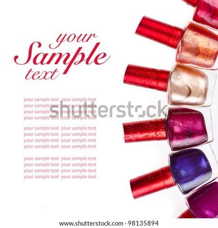 Nail polish on isolated white background