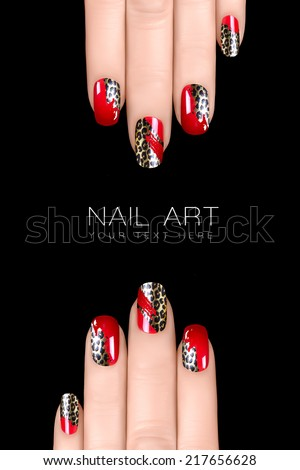 Nail polish stickers with animal print. Professional manicure. Nail art concept. Closeup image isolated on black with sample text