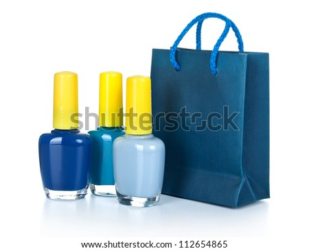 nail polish with gift bag isolated on white - stock photo