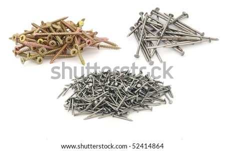 Nails and screws isolated on white collection