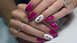 Nails Art Design. Hands With Manicure. Close Up Of Female Hands With Trendy Nails with decorations.
