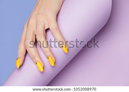nails design. hands with bright ...