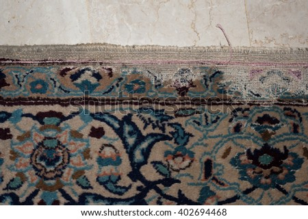 nain persian rug ruined by moths - effect of woodworm of precious carpet - planar views