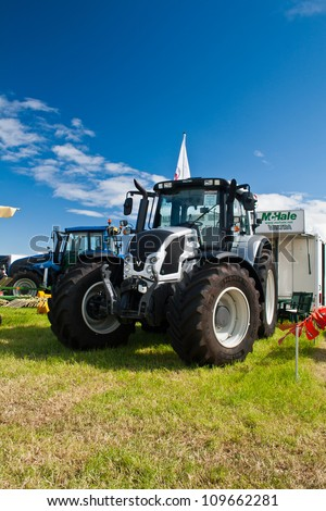 NAIRN, SCOTLAND - JULY 28: New Valtra N Series tractor on display at the annual Nairn Farmers Show on July 28, 2012 in Nairn, Scotland