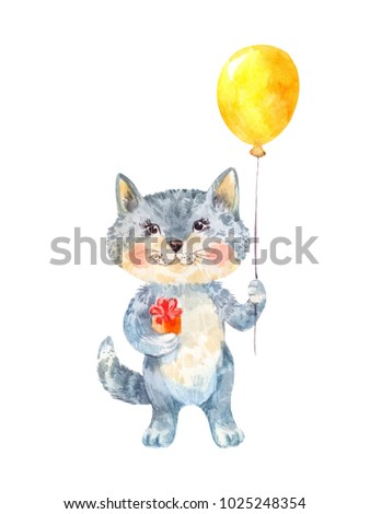 Naive children's drawing of a gray cat with a gift and yellow balloon