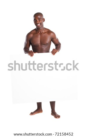 naked african american man holding white board