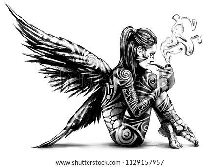 Stock Photo Naked angel sitting and Smoking a pipe