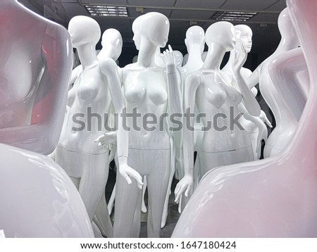 Naked female mannequins in the shop