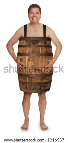 naked man wearing a wooden barrel
