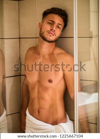 Naked Muscular Man Ready for Having a Bath at the Bathroom to Refresh