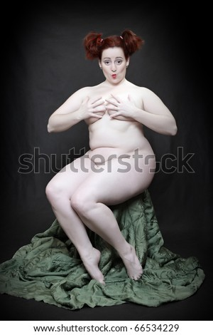 Naked Overweight Woman Posing On Black Background Funny Image Fine