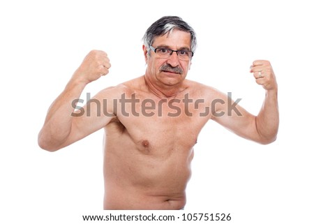 Naked senior man posing and showing his strong body, isolated on white background. - stock photo