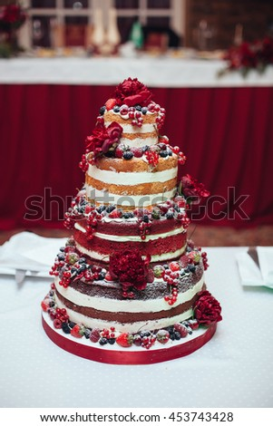 Free Photos Naked Wedding Cake Decorated With Berries And - Wedding Cake Costs