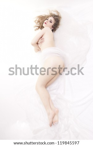 Naked woman on white background